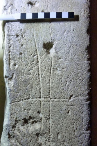 10. Hole with radiating lines; cross. Ringing chamber doorway.
