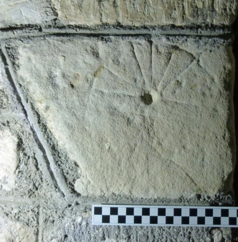 5. Re-sited mass dial, upside down. South doorway.