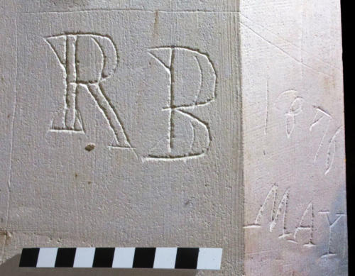 9. Initials & date, RB May 4 1876. Sedilia.