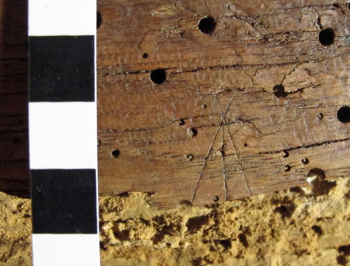 10. Possible arrow type, or M. Bottom lost. Lady Chapel screen.