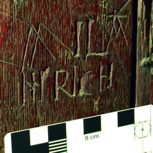 11. Name Wiliam Rich, incorporating earlier inverted W and A, both potential apotropaic marks.