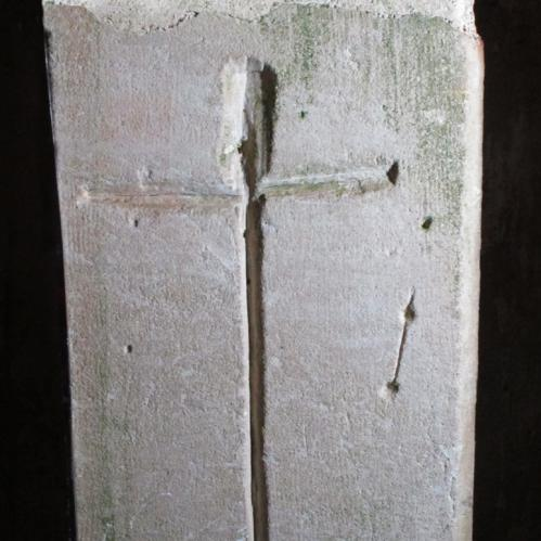1. Deeply carved cross.  South doorway.