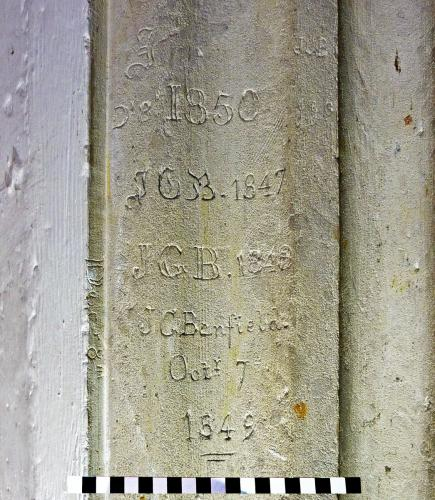 3. J.G. Benfield inscriptions. North aisle pier.
