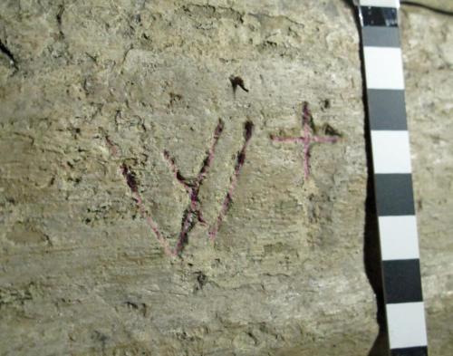 4. W  & cross, highlighted. Lady Dinham effigy.