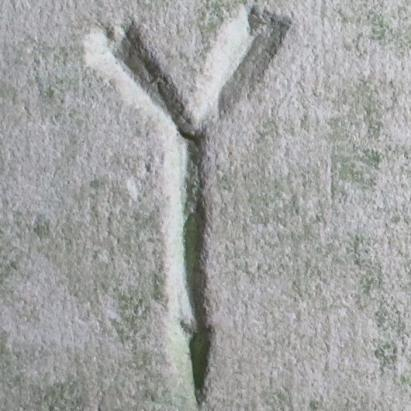 5. Letter Y or symbol. South doorway.