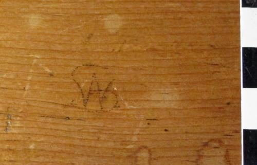 7. Possible W A ligature on bench bookrest. ?20th century.