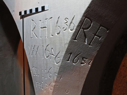 7. 17C initials & dates. Sedilia.