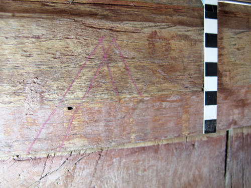 8.  M or inverted W, highlighted. Probable Marian type mark. Lady Chapel screen.