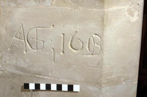 8. Initials & date, AG 1603. Sedilia.