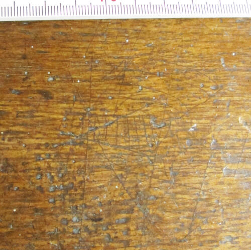 7. Crossed lines or grid and other marks, some with banded infill. Middle aisle bench.