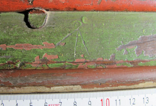 11. Chancel screen. Arrow type mark. Probably apotropaic.