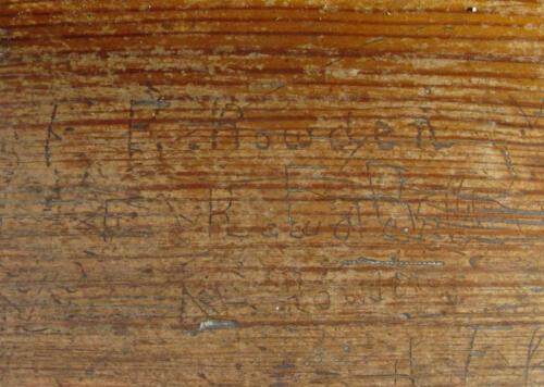 15. Nave bench, Rowden names.