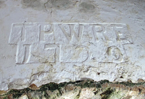 8. Room above Porch. Inscription with 1720 date and initials.