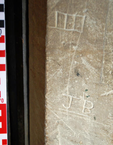 4. Ladder motif (probably apotropaic), initials J B & other. Tower, N. doorway.